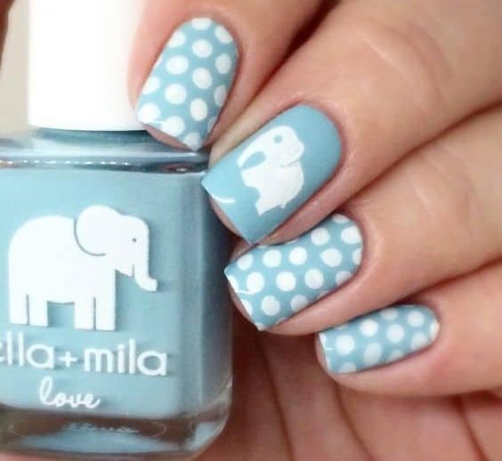 elephant nail design with polka dots