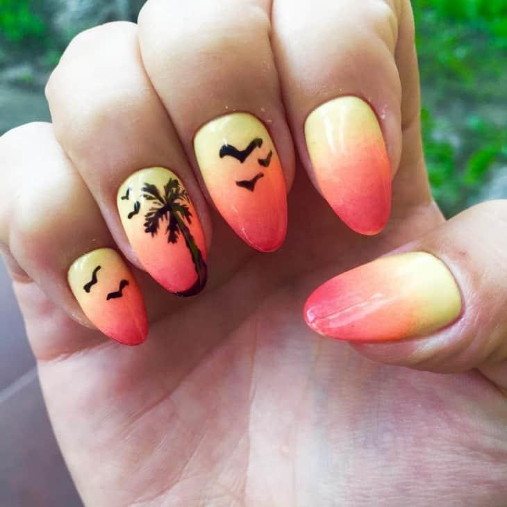 birds flying sunset nail art