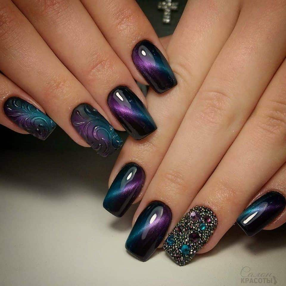galaxy cat eye nails