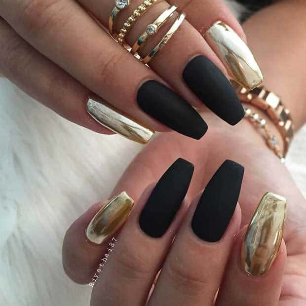 matte with metallic nail art