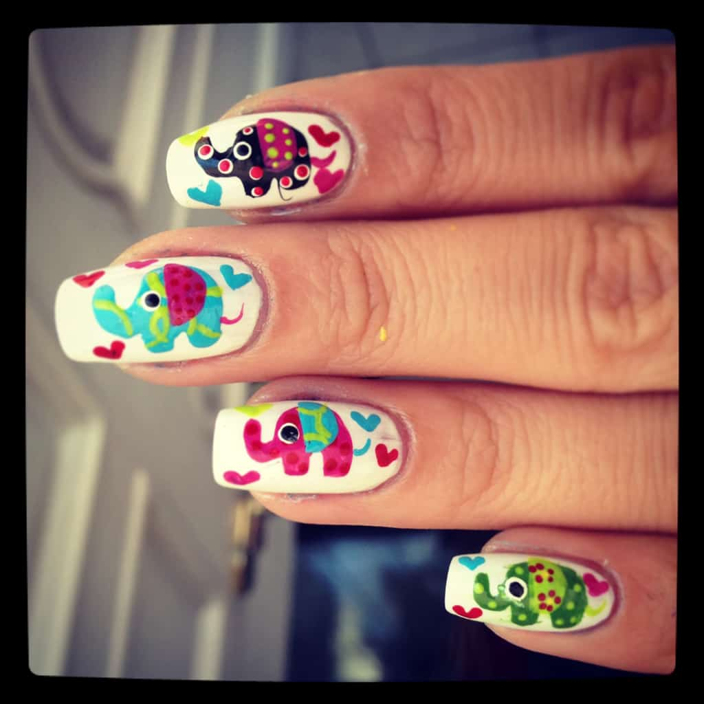 Multi colored elephant nail design