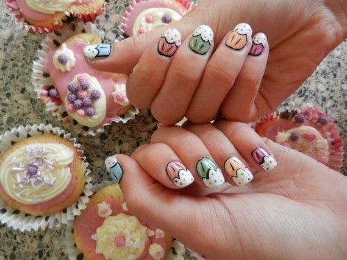 Multi-coloured Cupcake Nails