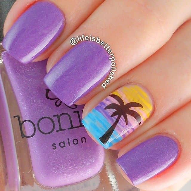 single nail sunset nail design