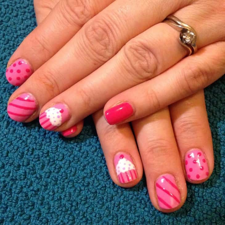 polka dots with cupcake nail design