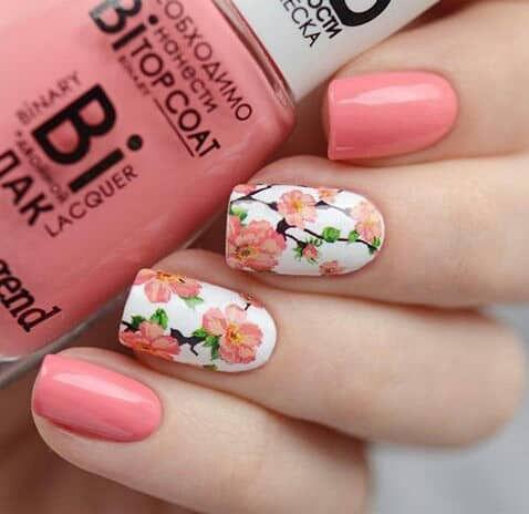 floral pattern quinceanera nails