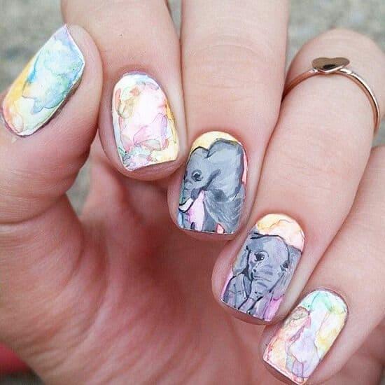 realistic elephant nail design
