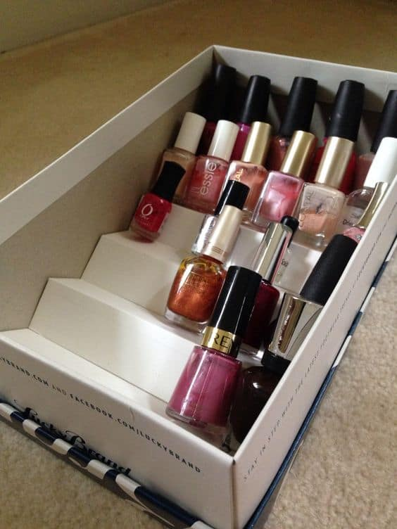 shoebox nail polish rack