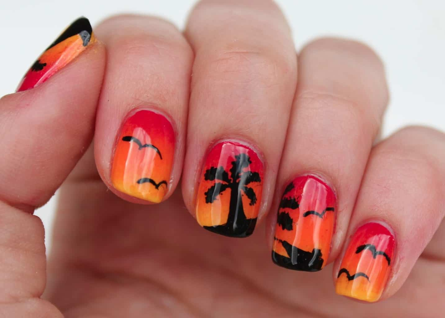 Beach effect sunset nails - 12 Sunset Nail Designs: Look Cool Any Time Of The Day