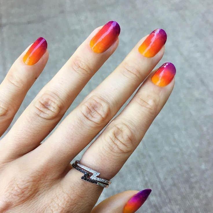 Plain Sunset nail design