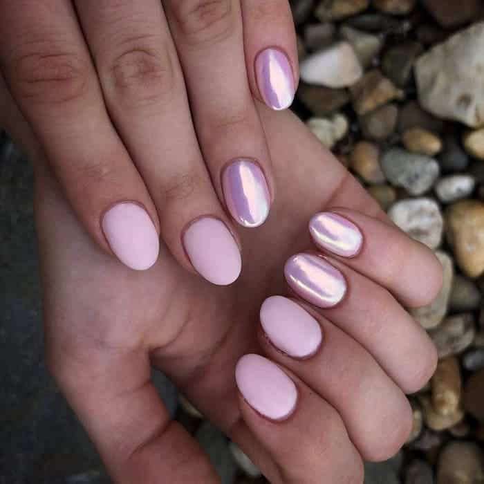 baby pink chrome nails