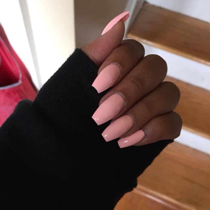 baby pink nails on dark skin