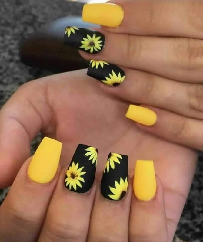 black sunflower nail design