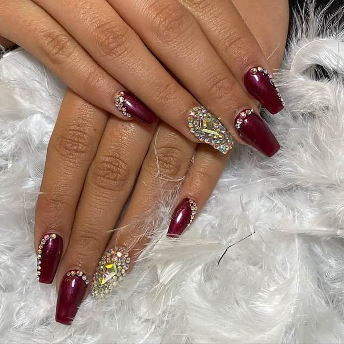 burgundy color quinceanera nails