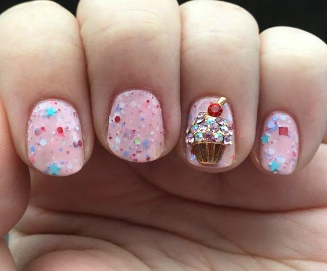 cupcake nail design with rhinestone
