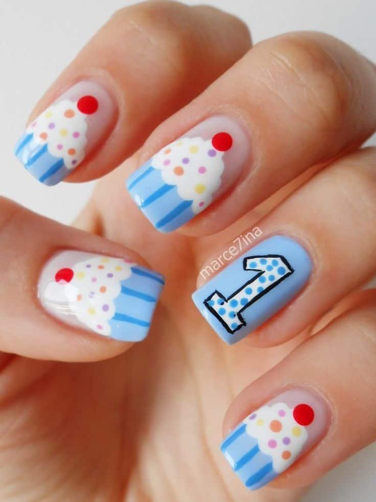 birthday themed cupcake nails