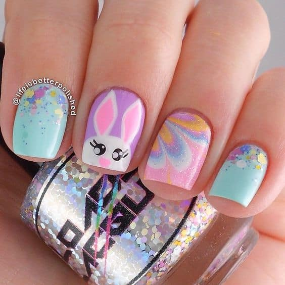 Cute rabbit pastel pink and yellow nail design