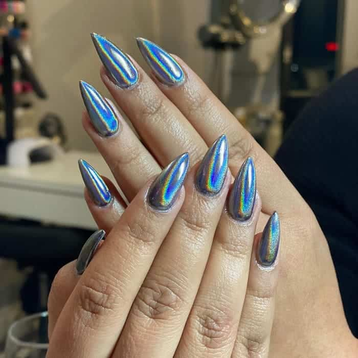 Holographic Pointed Nails
