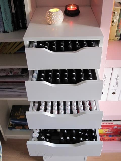 neat drawers to keep your nail polishes