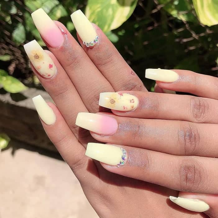 pastel pink and yellow coffin nails