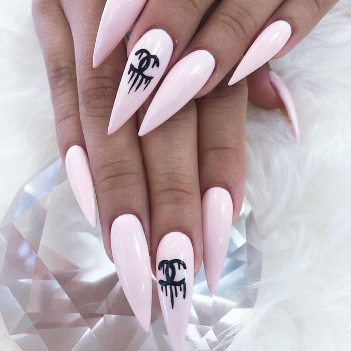 pastel pink stiletto nails