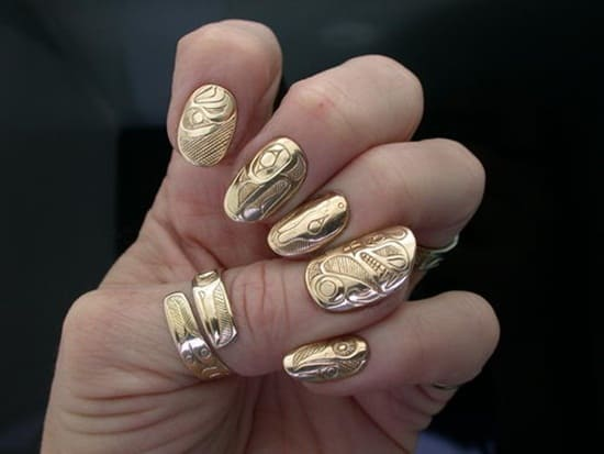 patterned metalic nails