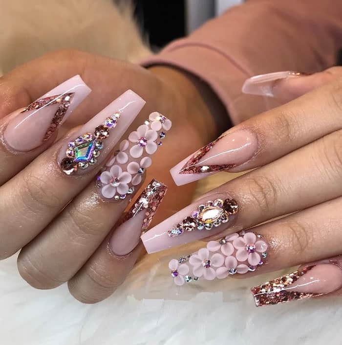 coffin shaped quinceanera nails