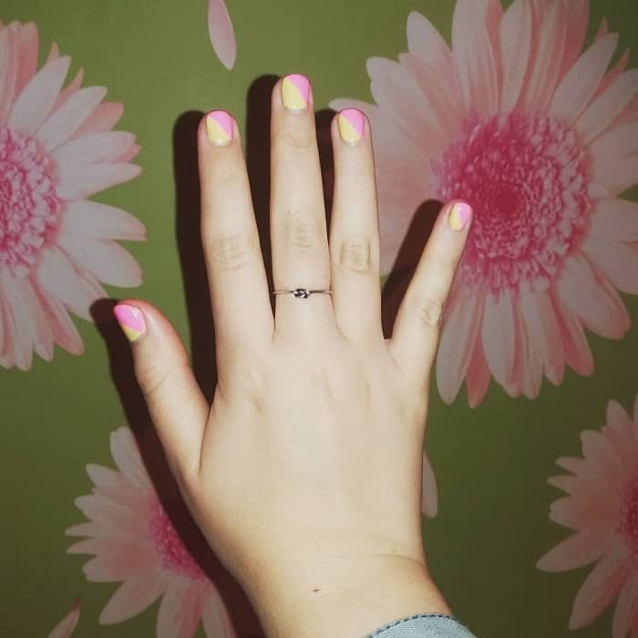 Short Pastel Pink and Yellow Nails