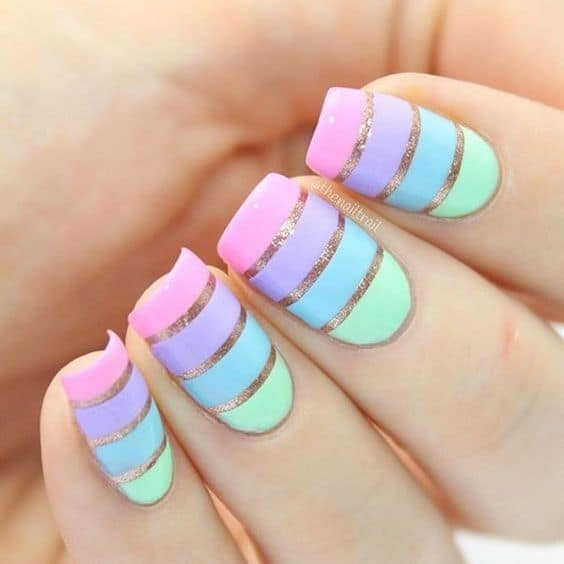 stripped pastel nails