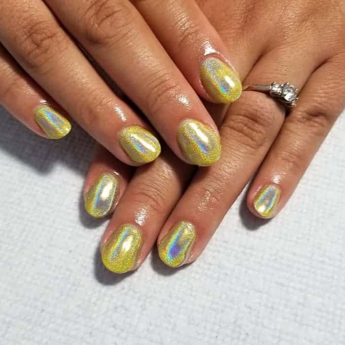 Yellow Holographic Nails