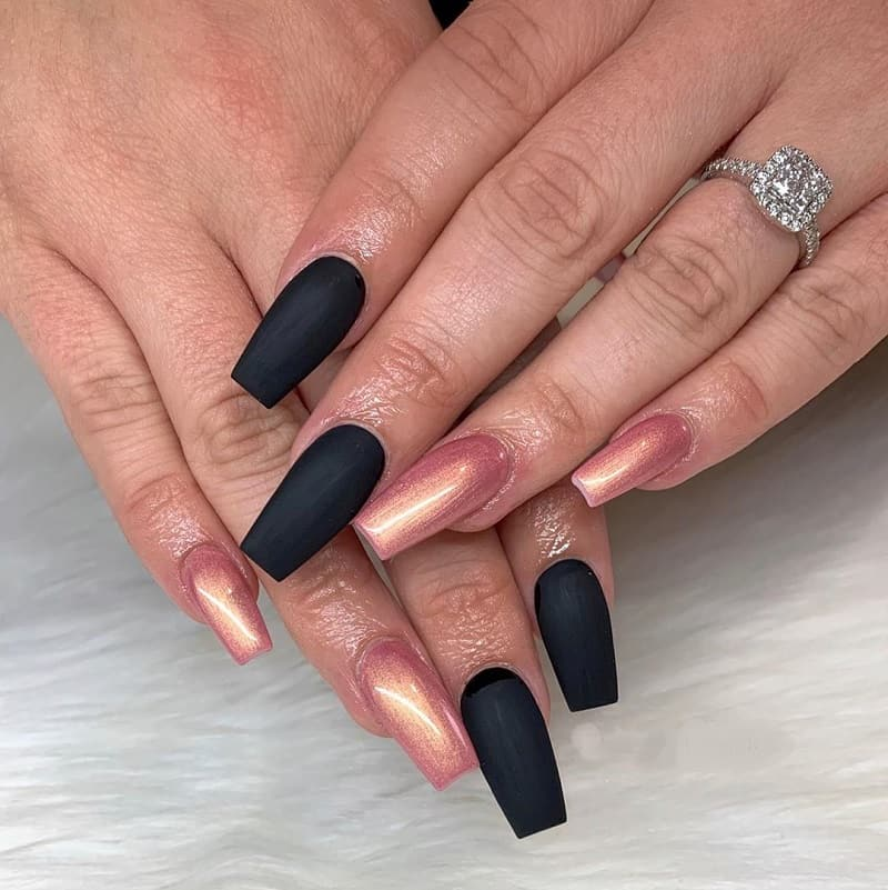 matte black and rose gold coffin nails