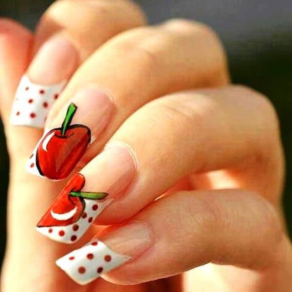 Appealing Apple fruit nail designs