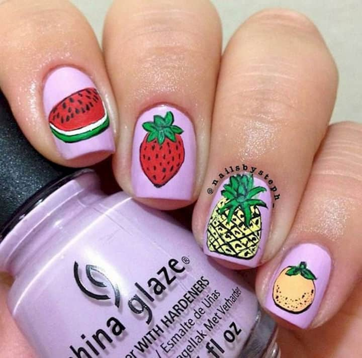 Mixed Fruits nail designs