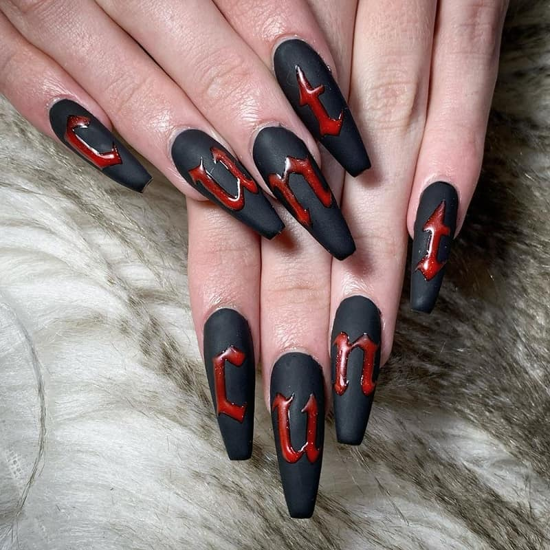 extra long matte black coffin nails