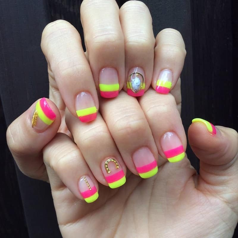 two colored nail tips