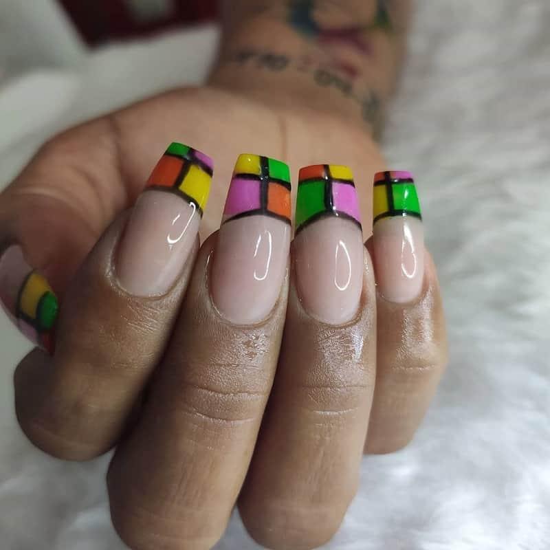 fall colored nail tips