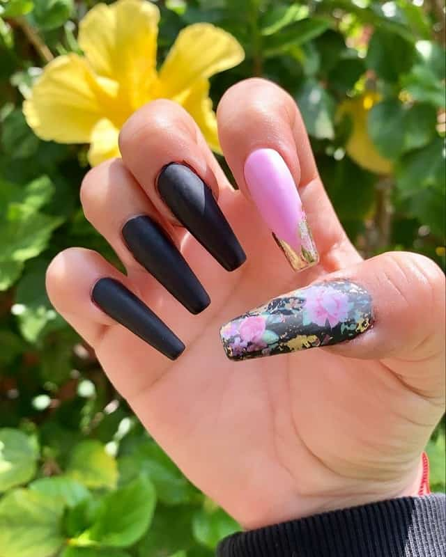 matte black coffin nails with design