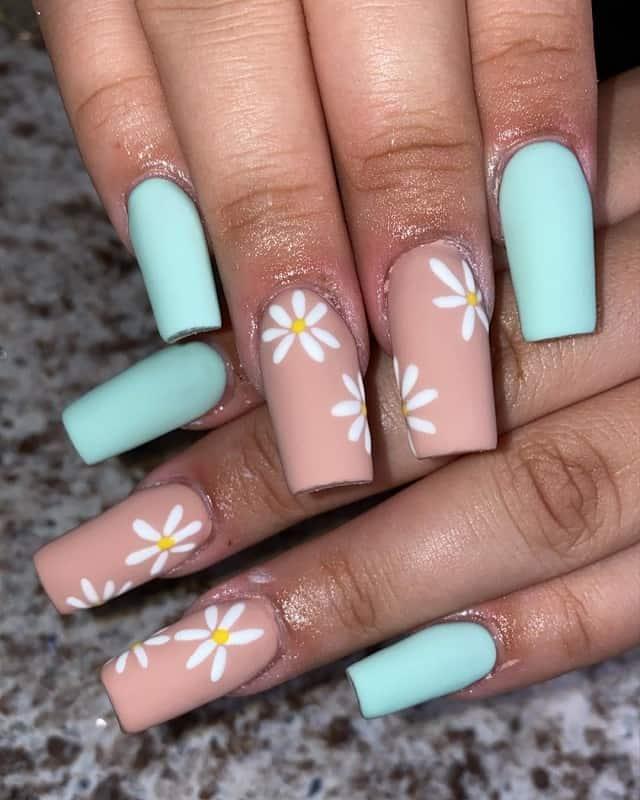 matte nude square nails