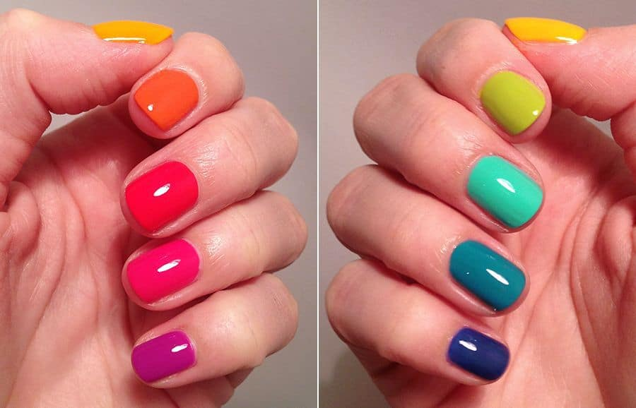 rainbow short acrylic nails
