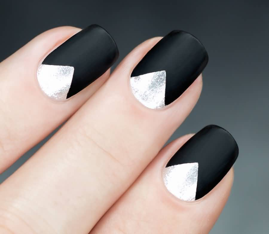 reverse black french manicure