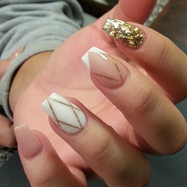 short coffin nails with Gold & Glitter