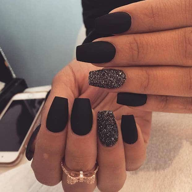 Matte Black short coffin nail designs
