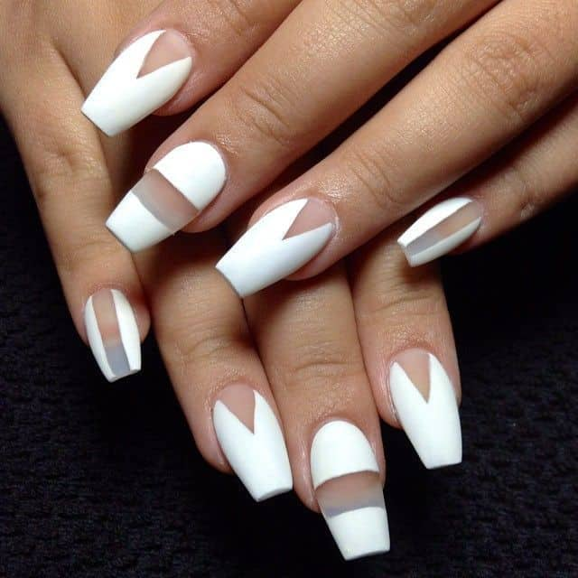 White Negative Space short coffin nails