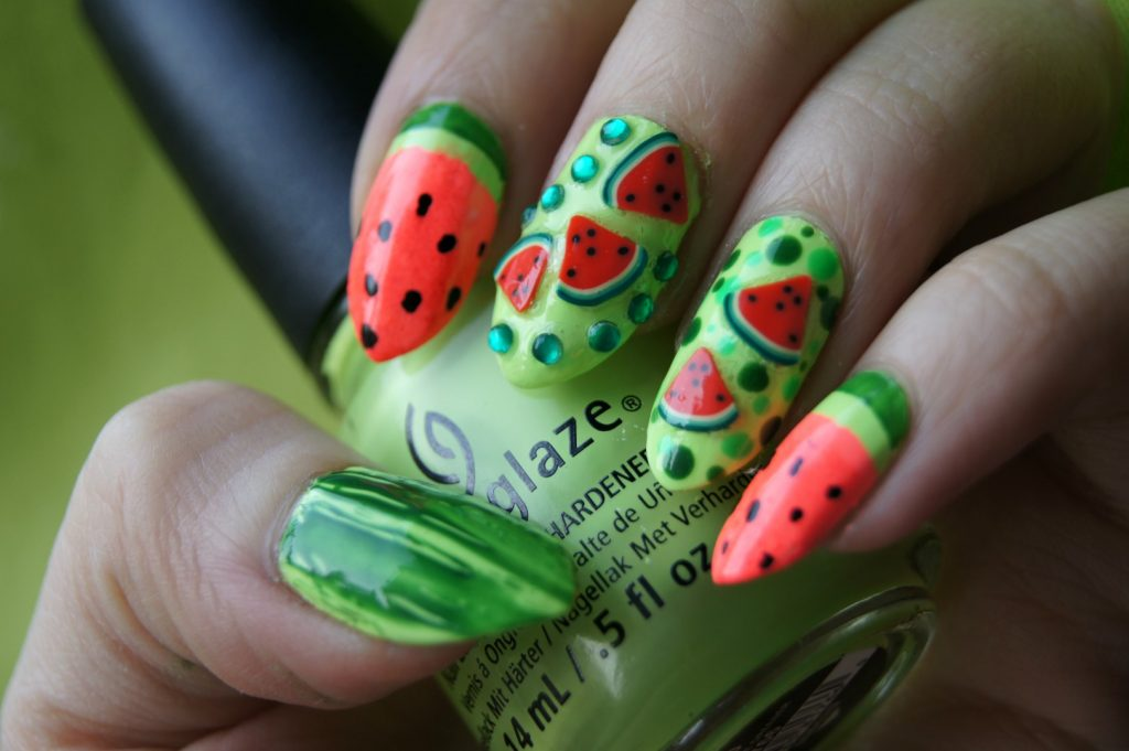 3D Watermelon fruit nail designs