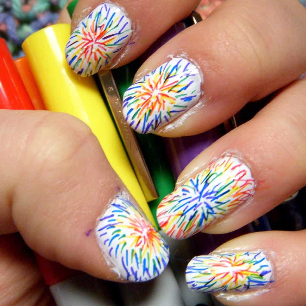 Sparkling tie dye nails