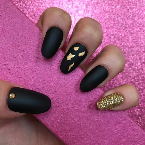 Matte black coffin nails gold speckle