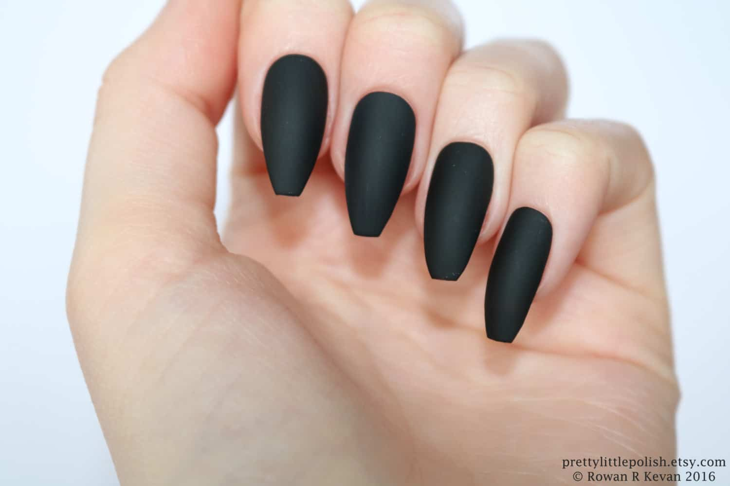 Plain Black Matte coffin Nails