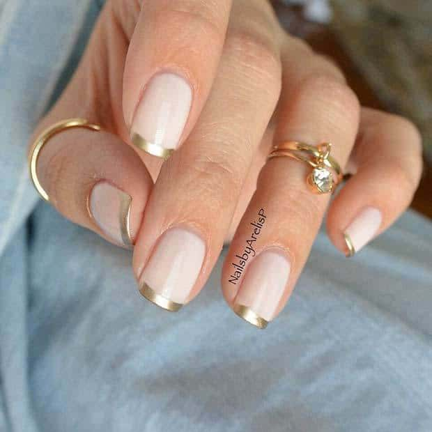 french tip in nude matte nails