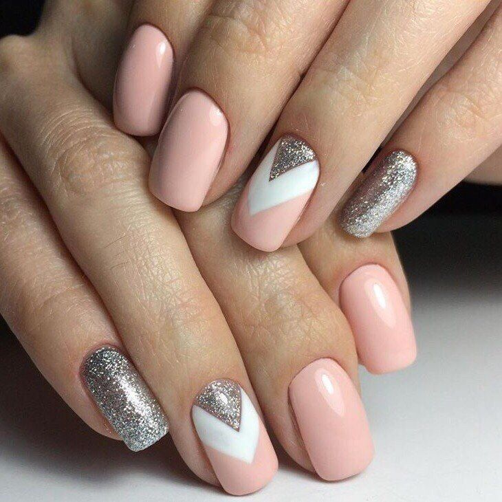Geometric Patterns Nude Nails