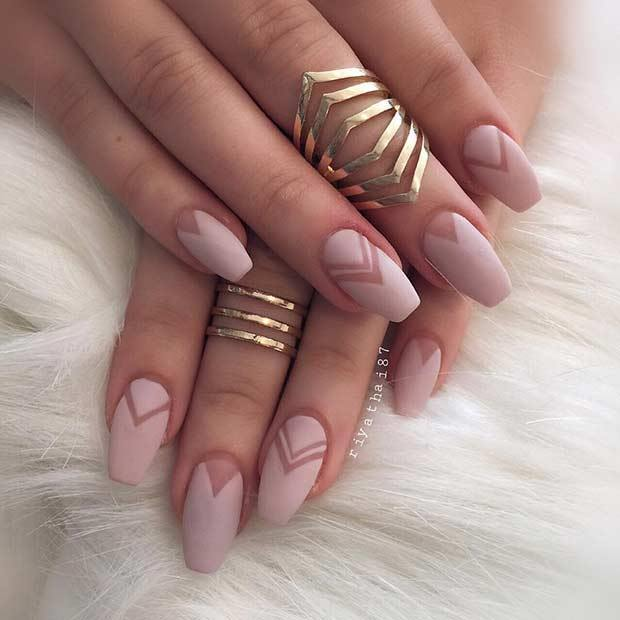 Negative Space Nude Matte Nails