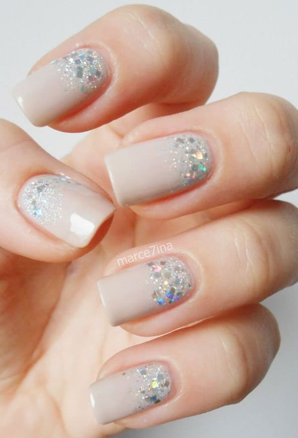 Sparkles nude nails